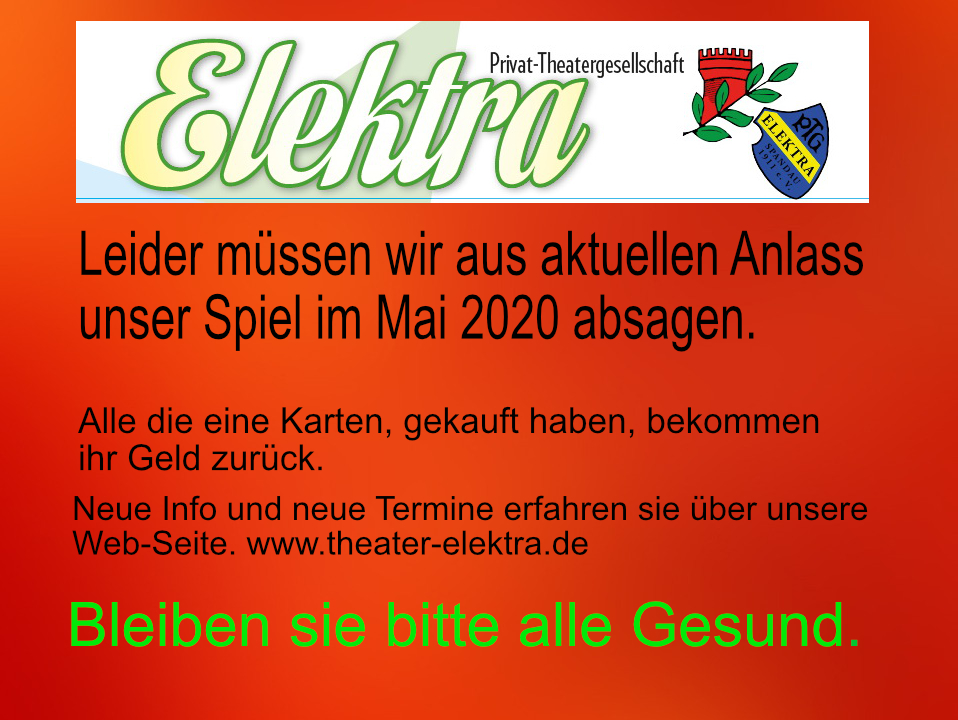 Absage Veranstaltung Elektra Mai 2020
